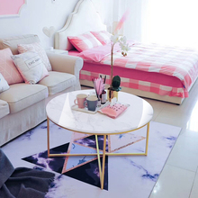 Nordic gold round журнальный столик coffee table living room modern creative marble texture large table home furniture