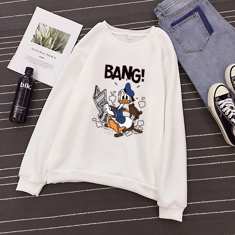 P49 2019 New Social Hoodies For Girls And Boys Character Duck Tops Women's Sweatshirt Long-sleeved Autumn Winter Velvet Coat