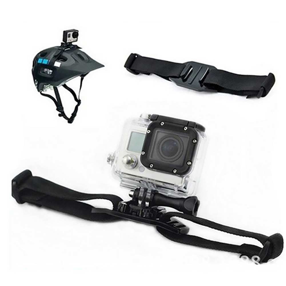 Vented Mount Accessories Holder Action Adjustable Belt Sports Camera Black Helmet Strap Easy Install Durable Video For GoPro