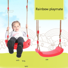 Indoor Outdoor Toys Rainbow Curved Board Swing Chair Flying Toy Garden Swing Kids Hanging Seat Toys with Height Adjustable Ropes cheap CN(Origin) Plastic In-Stock Items YT003 Sports Certificate 3 years old