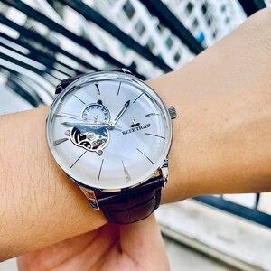 Image 3 - Reef Tiger/RT reloj de oro rosa para hombre, automático, mecánico, Tourbillon, con correa de cuero marrón, RGA8239