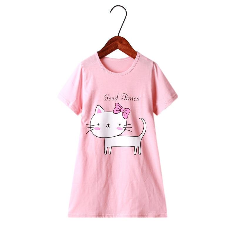 Dress Girls Nightdress Clothes Summer Cartoon Nightgown Children Clothing Short Sleeved Pajamas Dress Kids Homewear 6