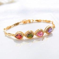 Женский браслет с круглым кристаллом CAB005, модный летний браслет, золотой браслет