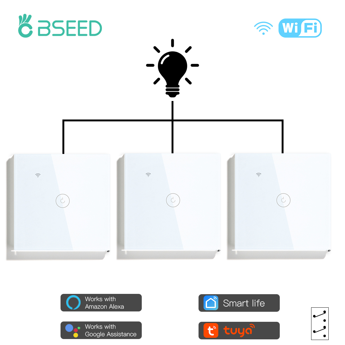 BSEED 3Packs Wifi Touch Switch 1Gang 1/2/3 Way Smart Wall Light Switch Wireless Alexa Switch Google Home APP Switch 3 Positions