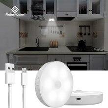 Led sensor de movimento luz usb recarregável led sob a luz do armário para armário cozinha roupeiro quarto escadas lâmpada parede noite