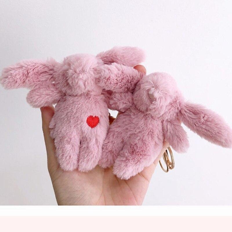 Cute Soft Fluffy Rabbits Stuffed Plush Animal Bunny Pendant Toy Fashion Doll For Baby Girls Kids Gift Animal Doll Keychain