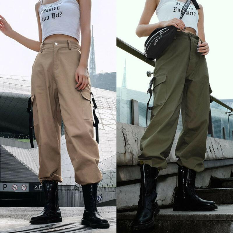 Women Hip Hop Loose Trousers Military Combat Camo Casual Hiking Joggers Pants