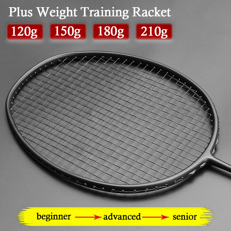 Professional Training Max 34LBS Heavy Carbon Fiber Badminton Rackets Strung Plus Weight With Bag Strings Racket Racquet