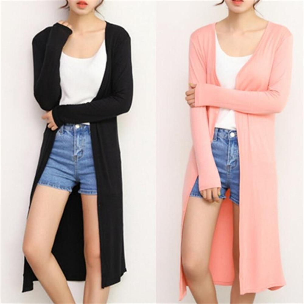 Summer Autumn 12 Colors Women Modal Long Cardigan Female Cotton Sweater Cardigans Long Sleeve Women Casual Coat Ladies Outerwear