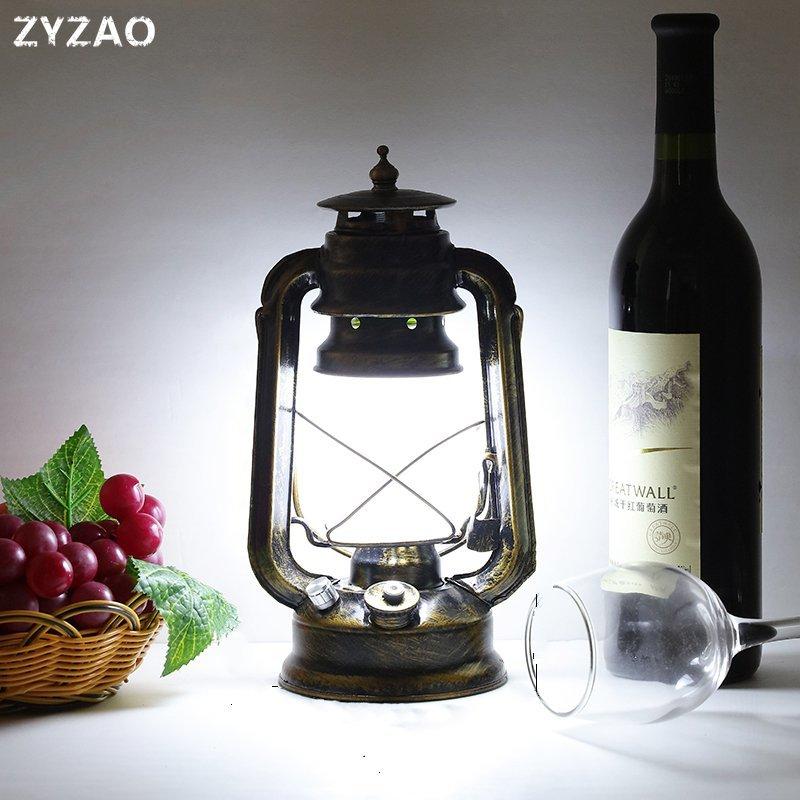 Перезаряжаемая светодиодная Винтажная настольная лампа, европейская промышленная Ретро креативная настольная лампа Tafellamp для кафе рестор...