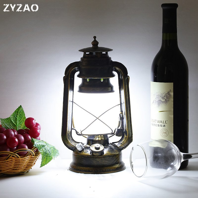 Rechargeable LED Bar Vintage Table Lamp European Industrial Retro Creative Tafellamp Cafe Restaurant Decorative Kerosene Lamps