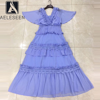 AELESEEN Summer Beach Dress 2020 Women's Runway Fashion Cloak Sleeve Deep V Neck Ruffles Lace Sky Blue Plus Size Party Dress