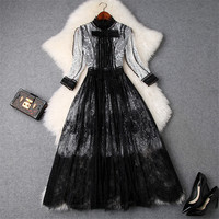 Womens High Quality Runway Dress 2019 Spring Autumn Fashion White Black Color Block Bow Collar Mid Calf Lace Party Dresses