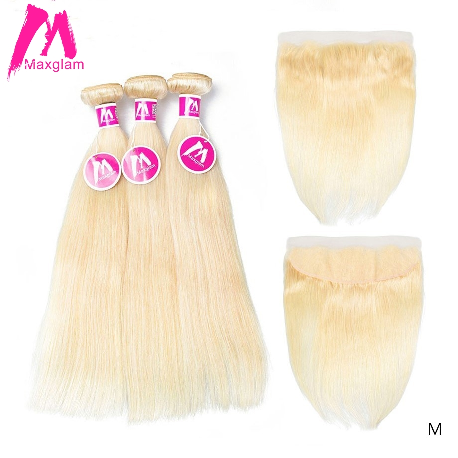 Maxglam Blonde 613 Bundles With Frontal Brazilian Remy Human Hair Weave Straight Short Long Natural Hair Extension Black Women