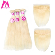 Maxglam Blonde 613 Bundles With Frontal Brazilian Remy Human