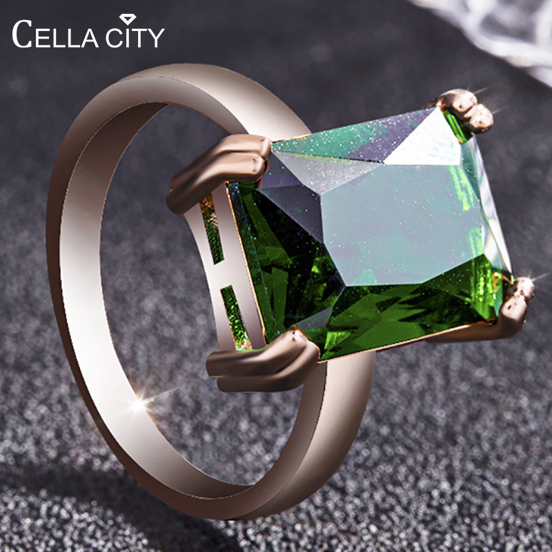 Cellacity Classic Rectangle Emerald Ring for Women Gemstones Silver 925 Jewelry Rose Gold Color Anniversary Femal Gift Size 6-10