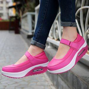 Image 2 - Chaussures de Sport à plateforme pour femmes, chaussures de course pour Jogging, en cuir PU rose, 2019