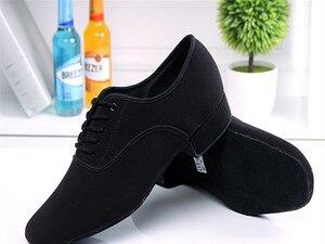 Image 5 - Chaussures de danse latine en toile noire pour hommes, souliers de danse latine, Tango, grande taille, à talons bas, pour salle de bal