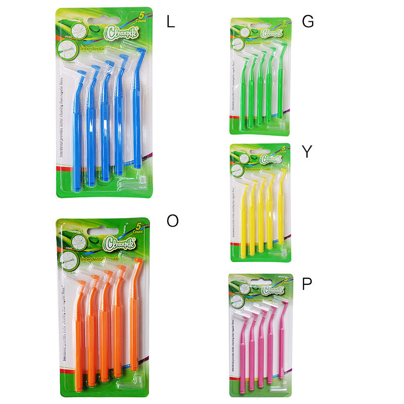 5 Pcs/lot L-shaped Interdental Brush Orthodontic Toothbrush Practical Cleaning Teeth Tool Set