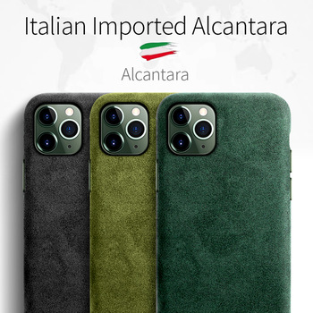 SanCore for iPhone 11 pro Max Phone Case ALCANTARA fashion Leather Full-protection Business Luxury Phone Shell Suede cover man 1