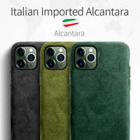 SanCore for iPhone 11 pro Max Phone Case ALCANTARA fashion Leather Full-protection Business Luxury Phone Shell Suede cover man