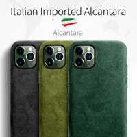 SanCore para iPhone 11 pro Max funda para teléfono de cuero de moda de ALCANTARA protección completa de negocios lujosa carcasa para teléfono cubierta de gamuza para hombre
