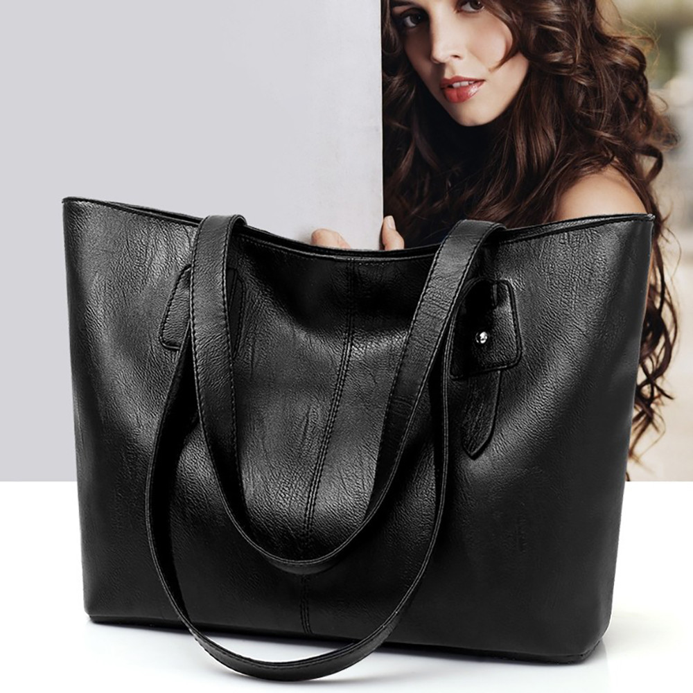 Casual Large Capacity Women Handbag Soft PU Leather Female Shoulder Bags Ladies Mom Big Totes Black Crossbody Bag Bolsas