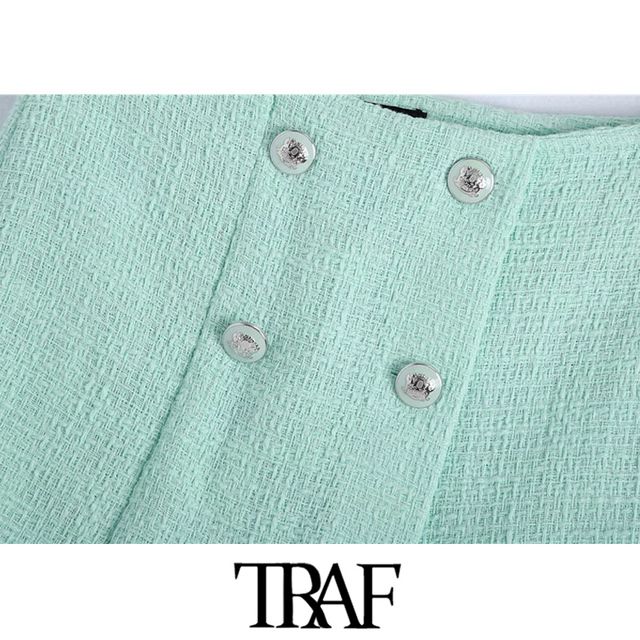 TRAF Women Chic Fashion With Buttons Tweed Shorts Skirts Vintage High Waist Side Zipper Female Skorts Mujer 3