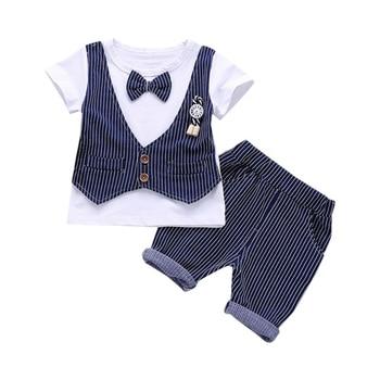 2 piezas verano niños trajes camiseta falsa dos piezas Camiseta de manga corta Tops con pajarita + Pantalones cortos a rayas trajes Suits1-4Y