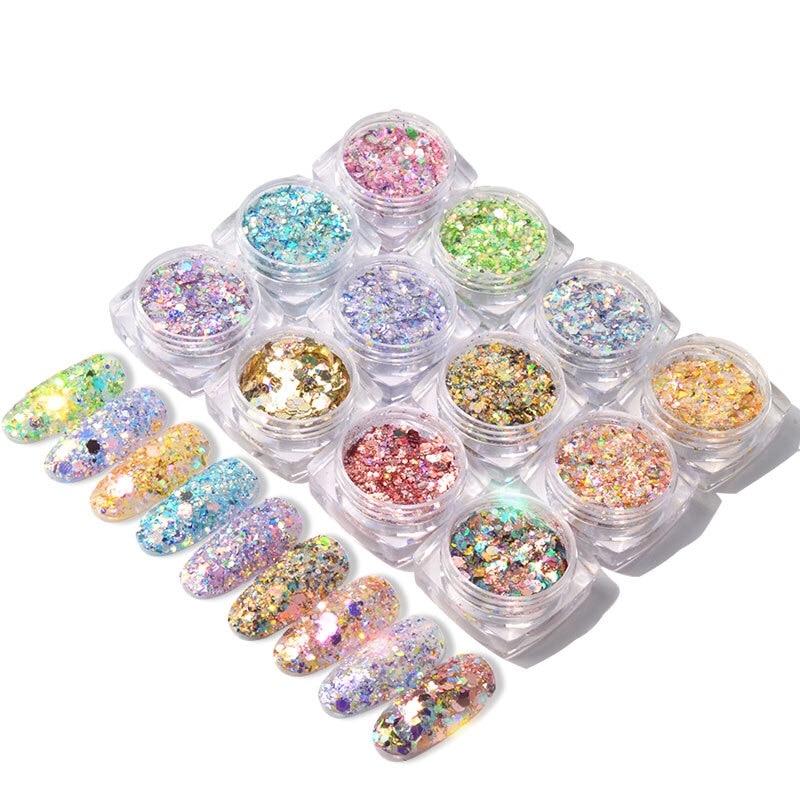 12 colours  Nail Glitter Mix Powder Sequins Nail Sparkles Shiny Makeup Glitter Dust Nail Art Decoration Nails Set Arts