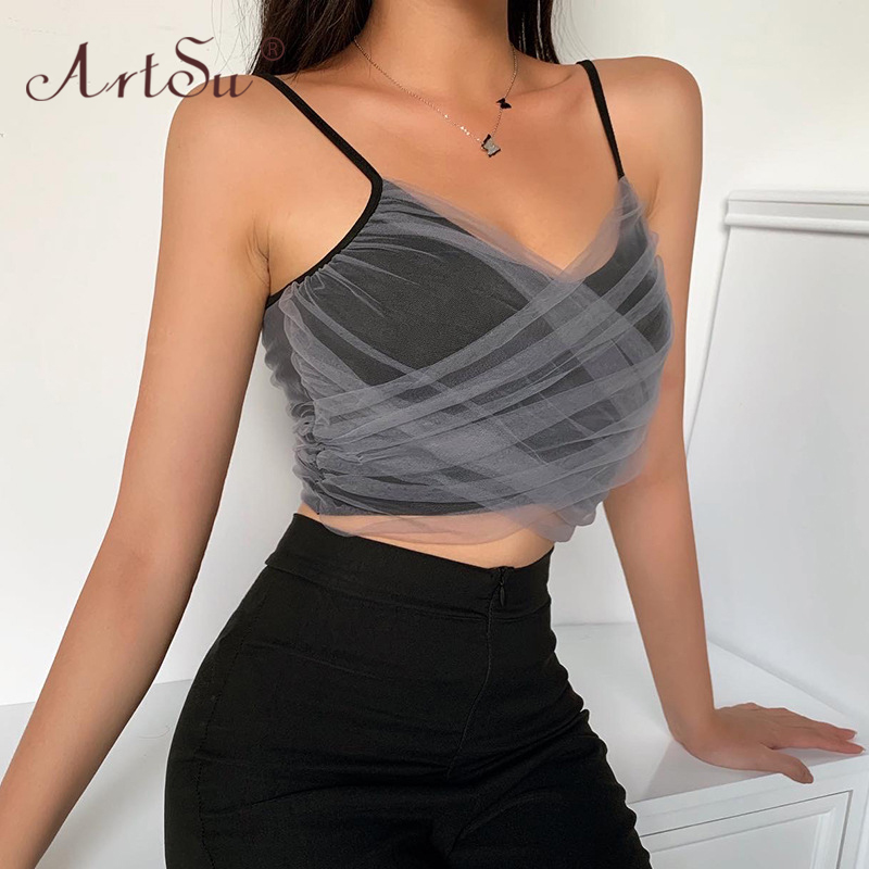 ArtSu Sexy Mesh Low Cut Backless Spaghetti Straps Crop Top 2020 Summer Women Fashion Slim Camis Tops Clubwear Black Tank Top 2
