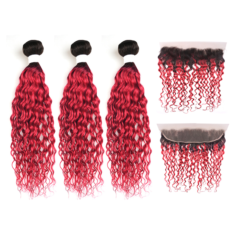 1B/99J Burgundy Brazilian Water Wave Hair Bundles With Closure 3PCS Human Hair Weaving With 13*4 Frontal KEMY HAIR Non-remy