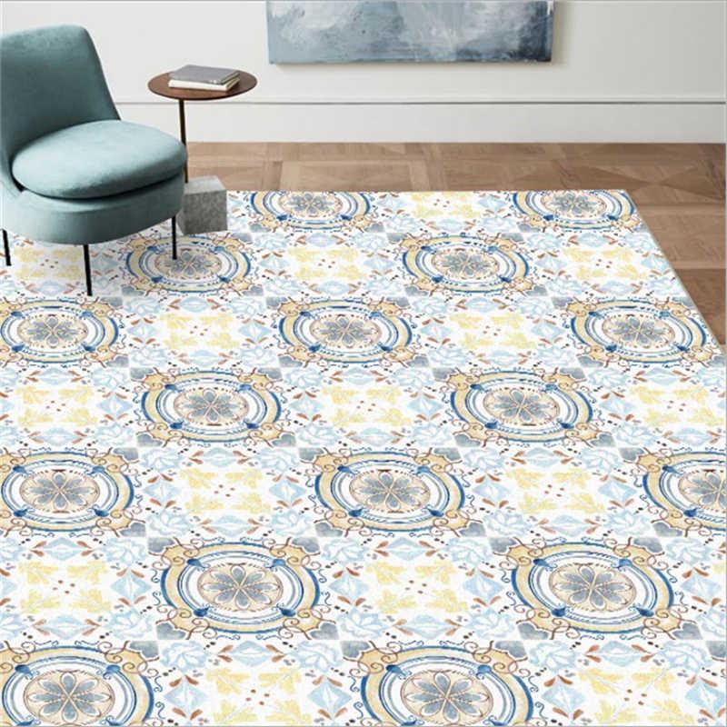 Sofá Mesa de Café Tapete Europeia Luz Azul Mosaico Padrão Tapete Tapete de Área para Sala de estar Quarto Tapete Anti-slip grande Tapete