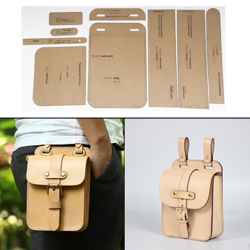 Leather Tools Men Waist Pocket Holder Kraft Paper Stencil DIY Handmade Leather Craft Design Template English Versoin