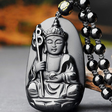 Natural Black Obsidian Buddha Bodhisattva Jade Pendant Necklace Chinese Carved Fashion Jewelry Accessories Amulet for Men Women natural afghanistan white yu stone pendant with beads necklace carved maitreya laughing buddha women s amulet jewelry pendants