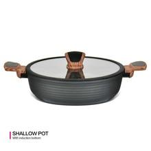 28 см мелкая кастрюля с крышкой без приклеивания алюминиевая мраморная подкладка Нижняя кухонная серая кастрюля серия