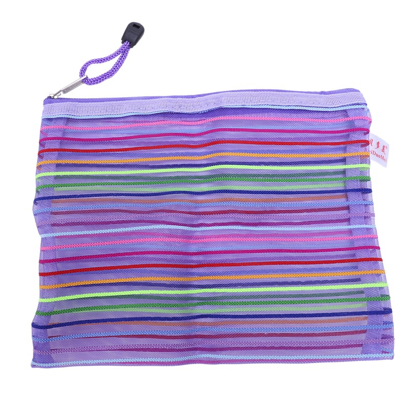 ABKT-Zipper Nylon Mesh Purple Stripe A5 Documents, Pen File Pocket Folder