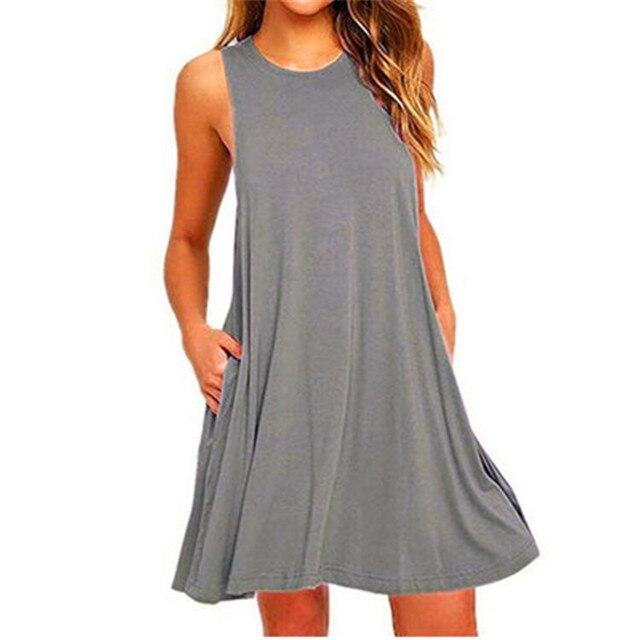 Summer Cotton Dress Women Sleeveless Beach Black Dress Casual  Pocket Loose Dress Female Plus Size Dress Fashion Clothing 3