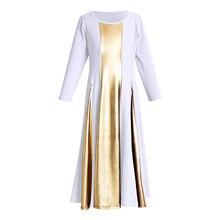 Girls Praise Dress Kids Child Loose Pleated Swing Long Praisewear Mime Liturgical Dance Church