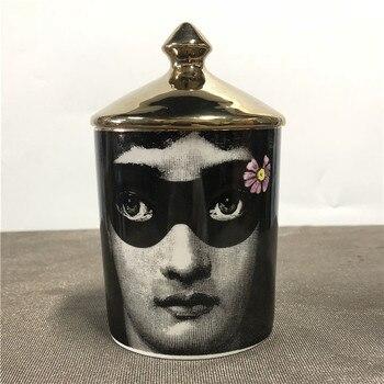 Lady Face Candle Holder Human Face Jar Candelabra Retro Storage Bin Ceramic Cafts Home Decoration Jewerlly Storage Box 27