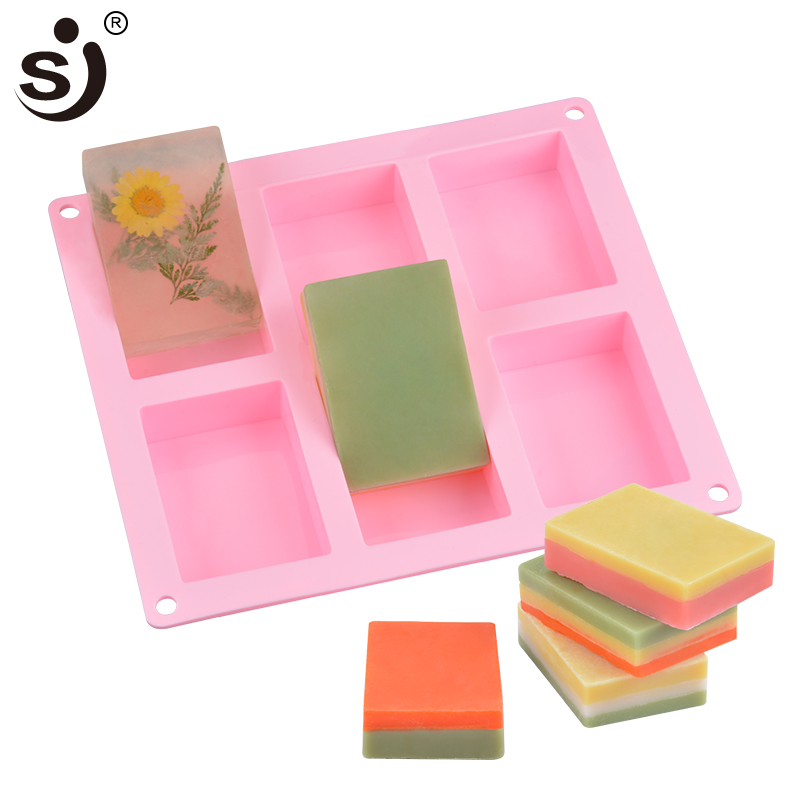 SJ 3d Craft DIY Soap Molds For Soap Making 6 Cavity Rectangular Forms Silicone Molds Fondant Handmade Mould