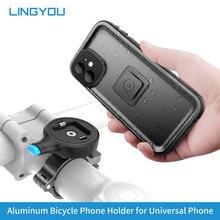 LINGYOU bisiklet motosiklet telefon tutucu bisiklet için 12 11 Samsung cep alüminyum gidon klip standı GPS montaj braketi