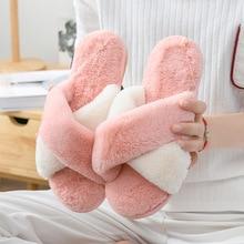 Non-slip Winter Warm Women Home Slippers Faux Fur wool Short Plush Female Comfort Floor Shoes Ladies Indoor Slipper Flip flops недорого