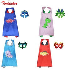 Cartoon Lovely Dinosaur baby Cloak+Mask Set Cosplay Triceratops Party Costume Blue Red Coat Children