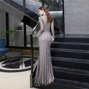 Image 2 - 우아한 높은 목 인어 크리스탈 댄스 파티 드레스 이브닝 파티 가운 슬림 장착 블링 블링 이슬람 터키 특별 행사 드레스