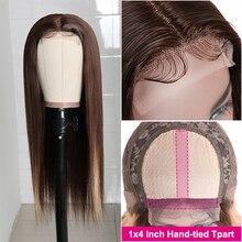 Парик на сетке Longqi T Part, прямые человеческие волосы #4/27, предварительно окрашенный бразильский прямой парик на сетке, 150% плотность, волосы Remy,...