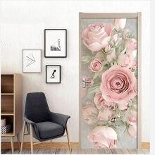 Наклейка на дверь в европейском стиле с розовыми розами для