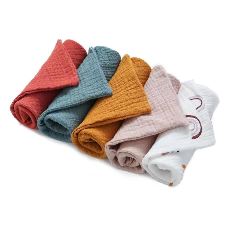 5Pcs Baby Bath Towel Cotton Burp Cloth Absorbent Gauze Kindergarten Washcloth