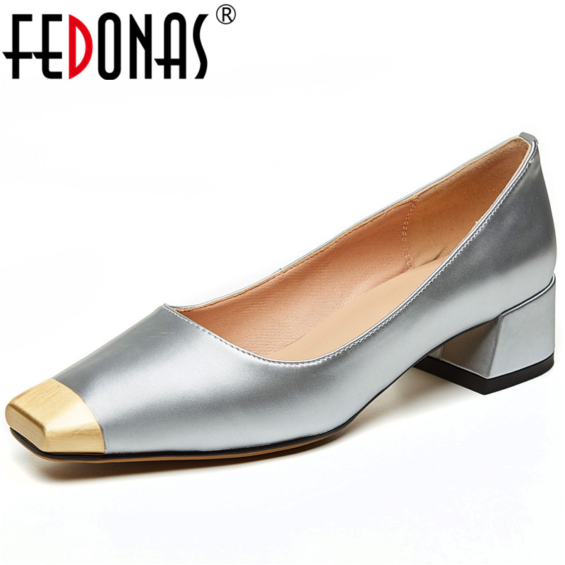 FEDONAS Women Cow Leather Casual Wedding Prom Party Shoes Spring Summer Concise Elegant Metal Decoration Square Toe Shoes Woman