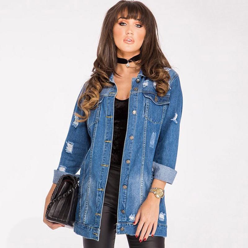 Denim Jackets Women 2020 New Hole Style Long Sleeve Vintage Jean jacket Denim Loose Spring Autumn Denim Coat Jean